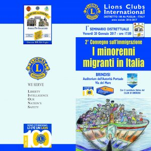"""ACLI BRINDISI E LIONS INSIEME PER IL SEMINARIO DISTRETTUALE """"I MINORENNI MIGRANTI IN ITALIA"""""""