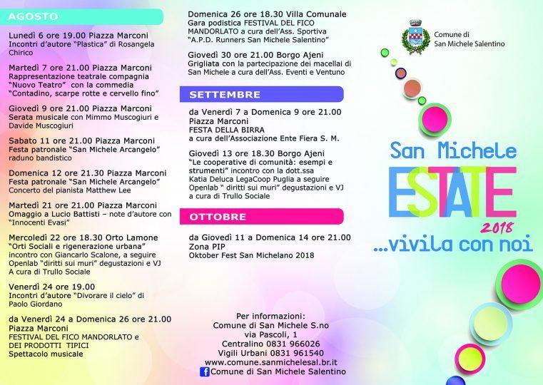 Calendario Feste Patronali Puglia.Al Via Il Calendario Degli Eventi Estivi Di San Michele