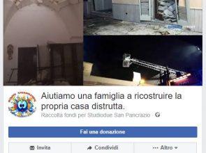 RACCOLTA FONDI SU FACEBOOK PER AIUTARE LA FAMIGLIA DI SAN PANCRAZIO A RICOSTRUIRE LA CASA