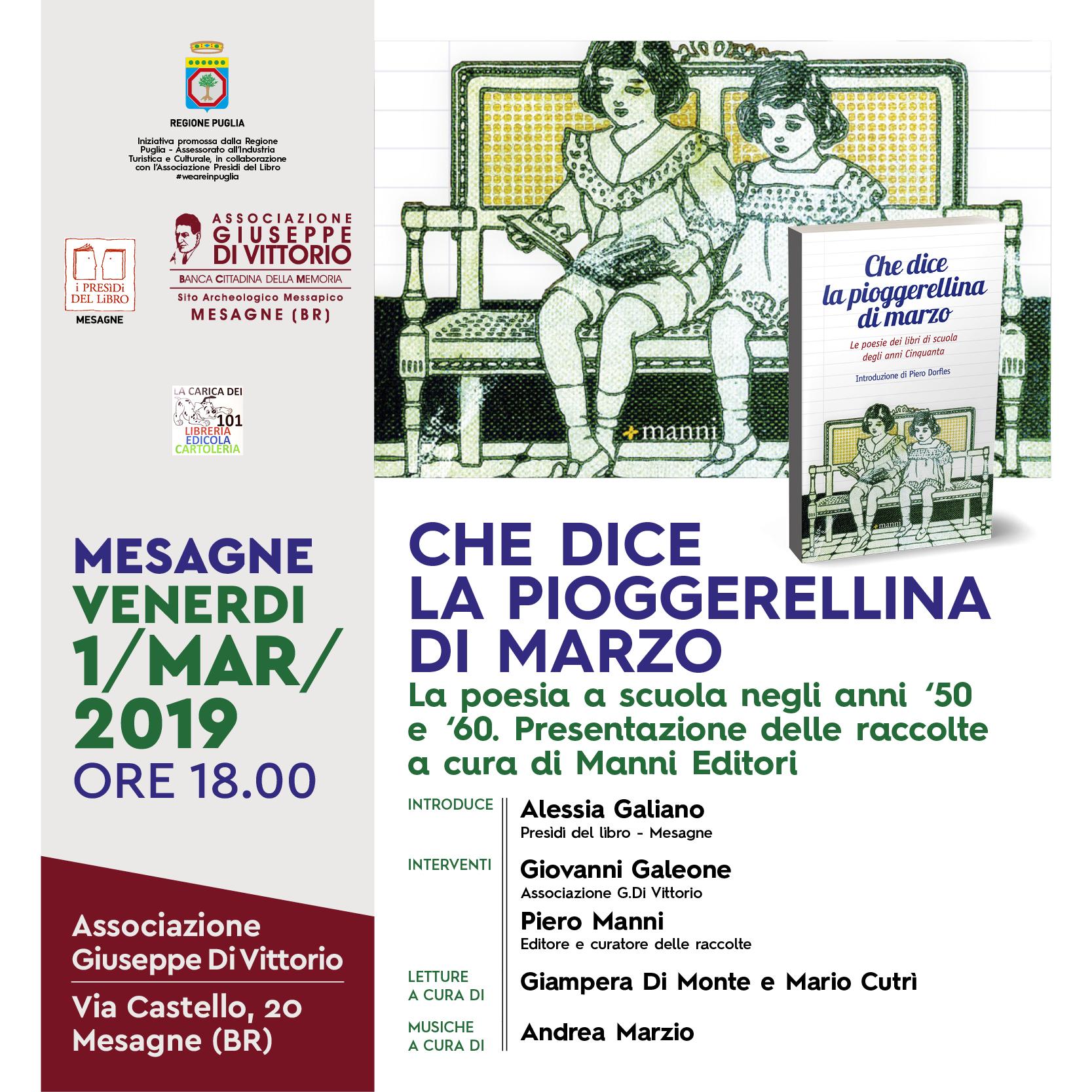 A Mesagne Venerdi La Poesia A Scuola Degli Anni 50 E 60