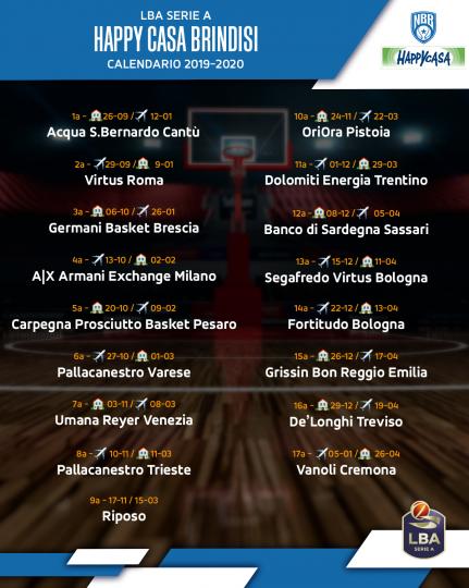 Calendario 31 Luglio 2019.Basket Serie A 2019 20 Il Calendario Della Happy Casa