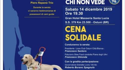 """LIONS CLUB, APPUNTAMENTO DI SOLIDARIETA' CON SLOW FOOD: """"DUE OCCHI PER CHI NON VEDE"""""""