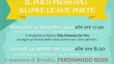"""IL QUESTORE DI BRINDISI ROSSI INAUGURA L'A.S. 2020-2021 INCONTRANDO GLI STUDENTI DEL POLO """"MESSAPIA"""""""