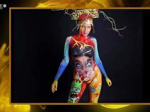 LA MODELLA BRINDISINA NAOMI MIGLIETTA AFFIANCO ALL'ARTISTA PELLEGRINO AL WORLD BODYPAINTING FESTIVAL